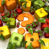 Fruit doubt. 3D rendering of a selection of cubic fruits surrounding a question mark Stock Images