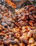 Fruit doux de paume de datte s?che sur Souk ou march? Abu Dhabi ?mirats arabes unis photos stock