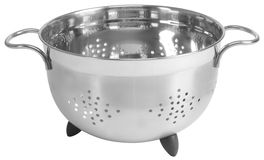Fruit drainer. Stainless steel colander isolated over white Stock Images