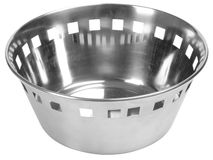 Fruit drainer. Isolated. Stainless steel colander isolated over white Royalty Free Stock Images