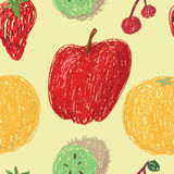 Fruit Drawing Pattern. Loose drawings of various fruit in a seamless pattern on a pale yellow background Vector Illustration