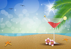Fruit drink on the beach Stock Photography