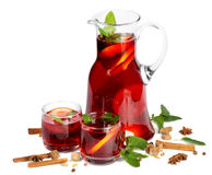 Fruit drink in jug and two glasses. Royalty Free Stock Images