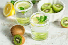 Fruit drink with kiwi and mint Royalty Free Stock Photos