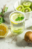 Fruit drink with kiwi and mint Stock Images