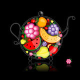 Fruit drink, teapot on black for your design Stock Photo