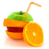 Fruit with drinking straw Royalty Free Stock Photography