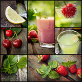 Fruit drinks collage Stock Photo