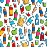 Fruit drinks and dairy beverages seamless pattern Royalty Free Stock Images