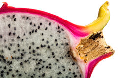 Fruit du dragon, tranche de Pitahaya sur le fond blanc Image libre de droits