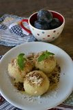Fruit dumplings with plums Royalty Free Stock Image