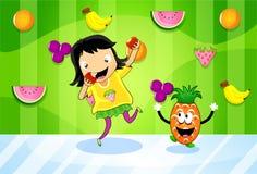 Fruit-eating girl Stock Photo