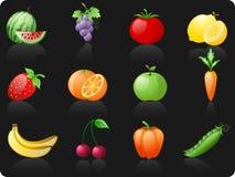 Fruit en achtergrond Vegetables_black Vector Illustratie