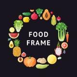 Fruit en de plantaardige vectorachtergrond van het cirkelkader Modern vlak ontwerp Stock Foto
