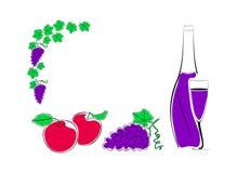 Fruit en een fles wijn met een glas Royalty-vrije Stock Afbeeldingen