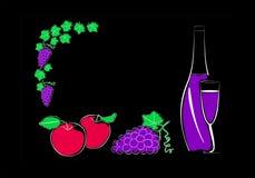 Fruit en een fles wijn met een glas Royalty-vrije Stock Foto