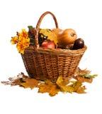 Fruit en groenten, die in geïsoleerdee mand liggen, Royalty-vrije Stock Afbeelding