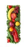 Fruit en plantaardig alfabet stock afbeelding