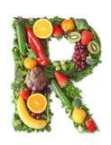 Fruit en plantaardig alfabet stock foto