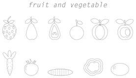 Fruit en plantaardig lijnpictogram royalty-vrije illustratie