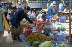 Fruit en plantaardige markt, Savannakhet, Laos stock afbeelding