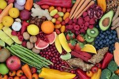 Fruit en Plantaardige Natuurlijke voedingachtergrond Stock Foto