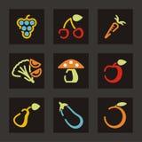 Fruit en Plantaardige Pictogrammen Royalty-vrije Stock Afbeeldingen