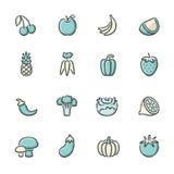 Fruit en plantaardige pictogrammen Royalty-vrije Stock Afbeelding