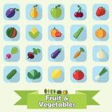 Fruit en plantaardige vlakke pictogramreeks Stock Foto's