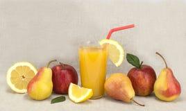 Fruit en sap gezond voedsel Stock Foto's