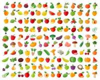 Fruit en van de groentenkleur geplaatste pictogrammen Royalty-vrije Stock Afbeeldingen