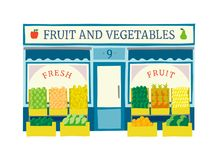 Fruit en van de groentenopslag voorgevel vlakke vectorillustratie Royalty-vrije Stock Afbeelding