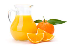 Fruit et cruche oranges de jus Photos stock