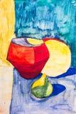Fruit et cruche peints avec une brosse Images libres de droits