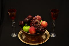 Fruit et vin Photographie stock libre de droits