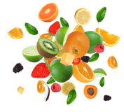 Fruit in explosion Stock Images