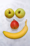 Fruit Face. Nice fruit face with banana, apples and pear Royalty Free Stock Photos