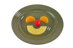 Fruit Face on Plate Stock Photos