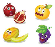 Fruit faces. A mixed fruit faces illustration Royalty Free Stock Photography