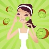 Fruit facial. A pretty girl doing kiwi mask Royalty Free Illustration