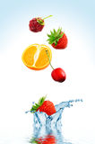 Fruit falling in water. On a white background stock photos