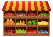 Fruit farmer shop. Counter with products. Vector royalty free illustration