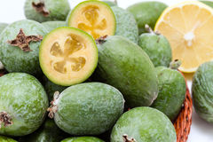 Fruit feijoa - the organic healthy product. Large ripe and green colour fruit feijoa. The organic healthy product for gourmet Stock Image