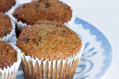 Fruit and fibre muffins. Tasty fruit and fibre muffins on plate Royalty Free Stock Image