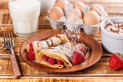 Fruit filled pancakes Stock Image
