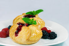 Fruit filled pastry with mint leaves Stock Image