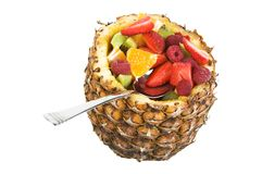 Fruit filled pineapple isolated. Fruit filled pineapple, clipping path included stock images