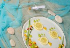 Fruit fish salad royalty free stock image