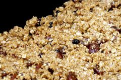 Fruit flapjack mix ready to bake in the oven.  Royalty Free Stock Photography