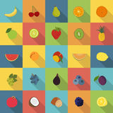 Fruit flat icons  set. 25 fruit icons in colorful flat design style Stock Photography
